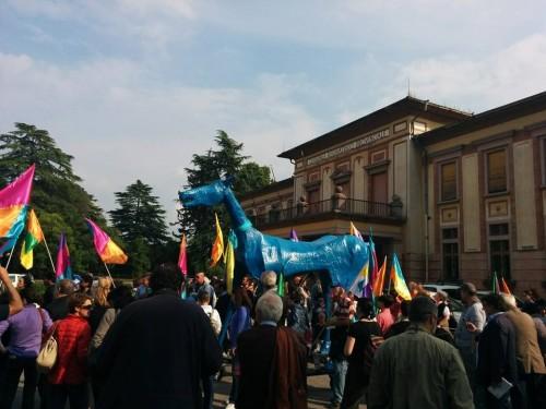 (Marco Cavallo all'ex ospedale psichiatrico di Gorizia. Ieri)