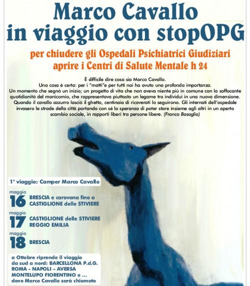 Marco Cavallo in viaggio con stopOPG - locandina fronte retro