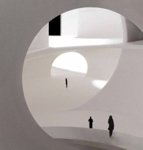 Oceanic Pavilion, entry and public space. Image Courtesy of Steven Holl Architects