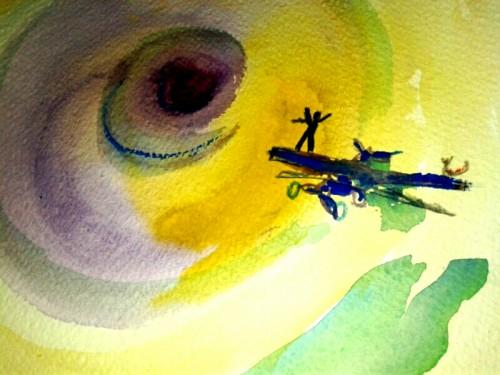 (dipinto di Antonio che frequenta il Laboratorio Creativo nel Centro Diurno di Aurisina - Trieste)