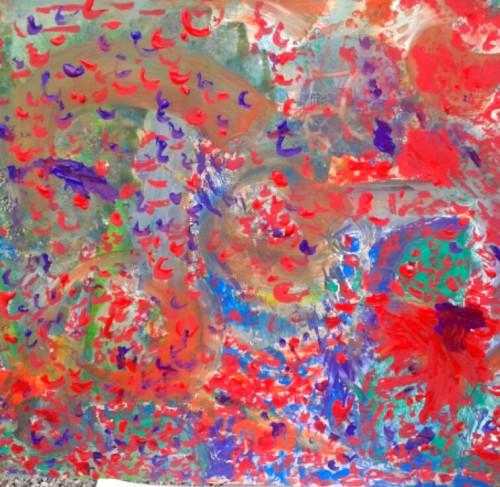 (dipinto di Bubu che frequenta il Laboratorio Creativo nel Centro Diurno di Aurisina - Trieste)