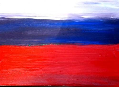 (dipinto di Lorenzo che frequenta il Laboratorio Creativo nel Centro Diurno di Aurisina - Trieste)
